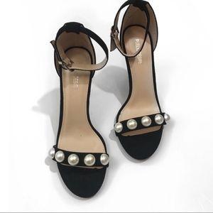Public Desire • Black Peal Suede Heels